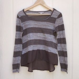 Derek Heart Knit Sweater Chiffon Ruffle Stripe M